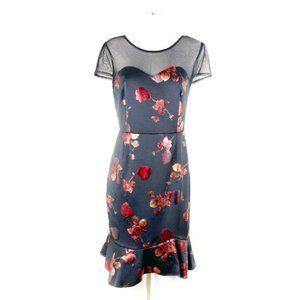 Beautiful Metallic Rose Print Black Dress 12P